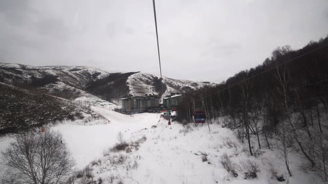 skiers skiing at winter ski resort chongli, zhangjiakou, china - ski lift point of view stock videos & royalty-free footage