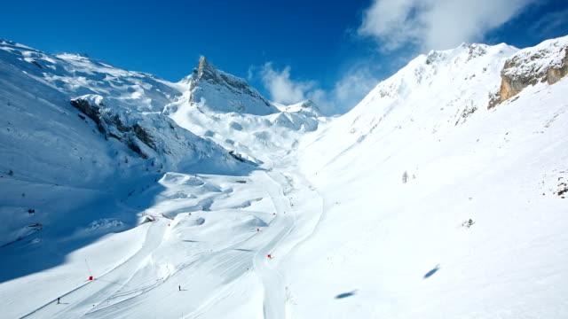 Skiers skiing at winter ski resort Hintertux, Tirol, Austria