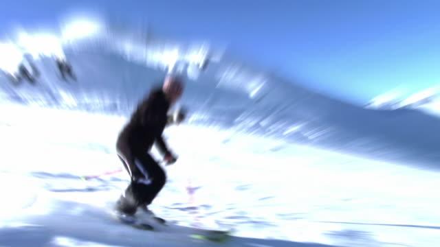 hd loop: skiing downhill - downhill skiing stock videos & royalty-free footage