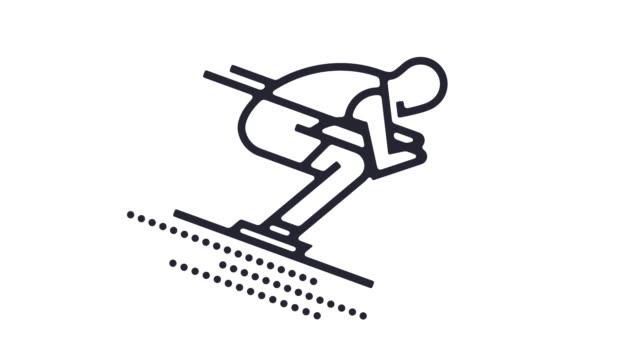 stockvideo's en b-roll-footage met ski lijn pictogram animatie - verblijfsoord
