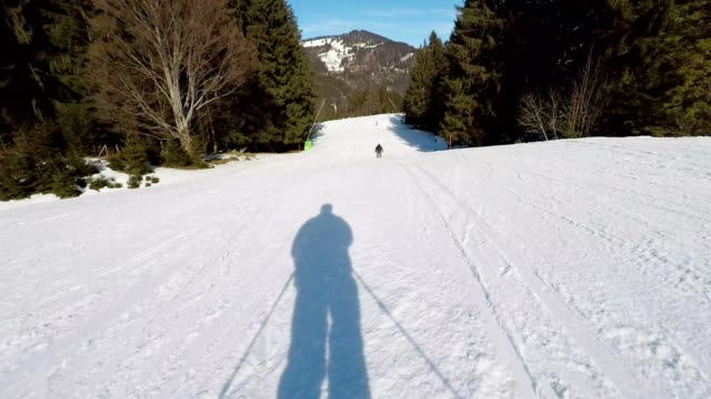POV, skiing on the ski slope in winter, Ofterschwang, Allgaeu, Bavaria, Germany