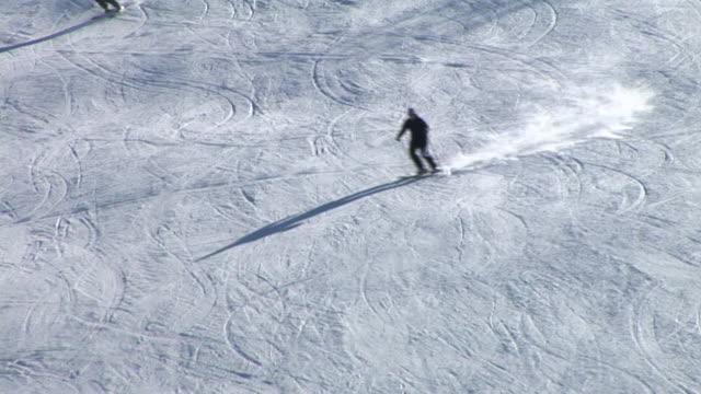 hd: skiing on the ski slope - slalom skiing stock videos & royalty-free footage