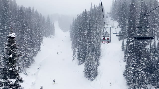 skiing under a blizzard in tellurida colorado - ski resort stock videos & royalty-free footage