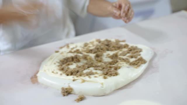 skilled man is making traditional pie burek in bakery - 1949 stock videos & royalty-free footage