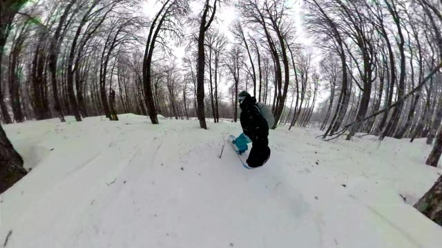 skilled snowboarder riding fast in a snowy mountain forest - ski holiday stock videos & royalty-free footage