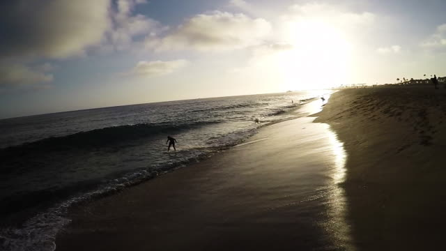 skimboarding aerial, wide sunset. - skimboarding stock videos & royalty-free footage
