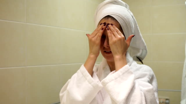 skin care- slow mo - bathrobe stock videos & royalty-free footage