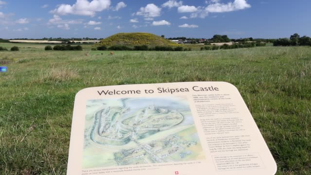skipsea castle, seat of the lords of holderness, in skipsea, yorkshire, uk, built in about 1086. - heap stock videos & royalty-free footage