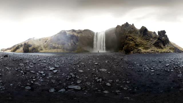 skogafoss waterfall. iceland - island stock-videos und b-roll-filmmaterial