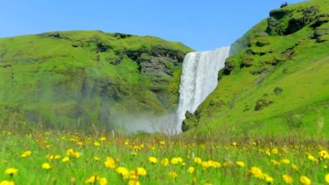 vídeos de stock e filmes b-roll de skogafoss waterfall in iceland, slow motion - islândia