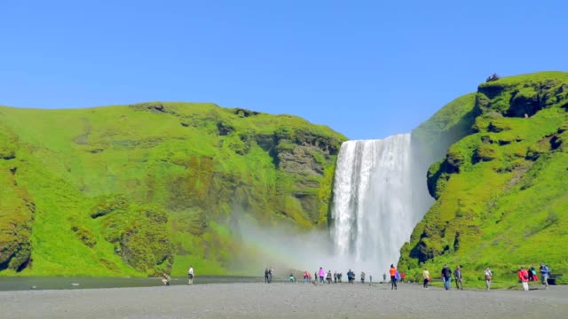 Skogafoss waterfall in Iceland, slow motion