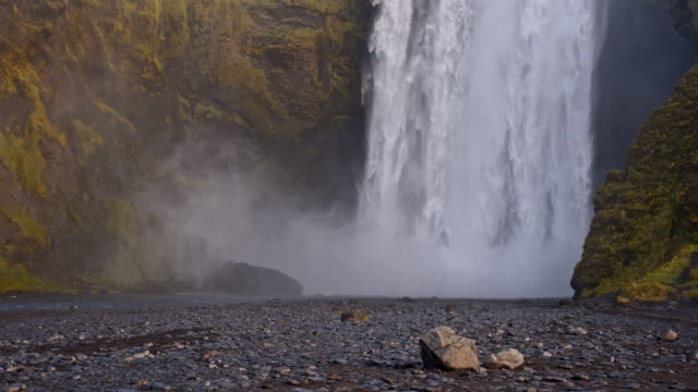SLO MO DS Skogafoss waterfall in Iceland