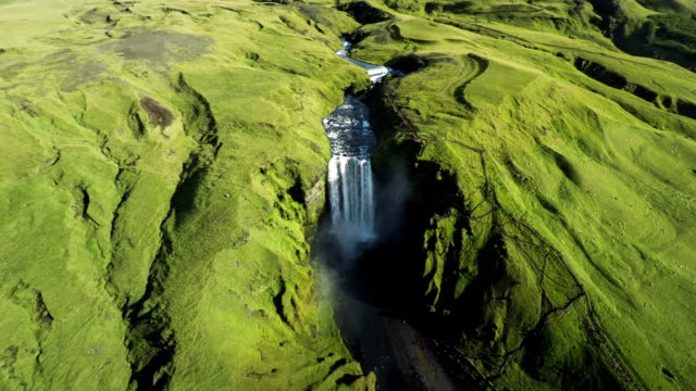 AERIAL: Skogafoss waterfall in Iceland