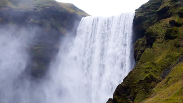 Skogafoss waterfall Slow motion.