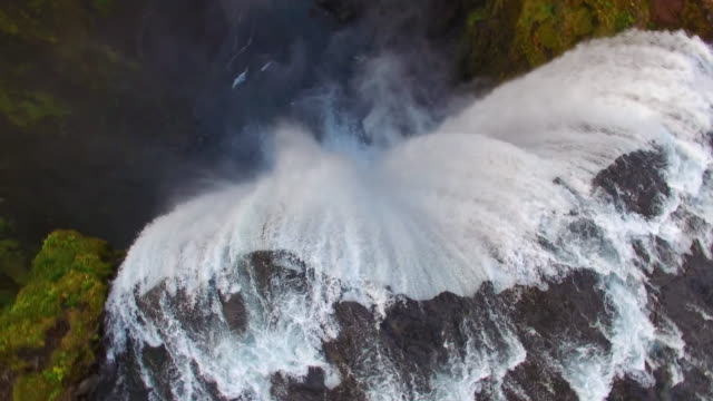 aerial skogafoss waterfall - rapid stock videos & royalty-free footage