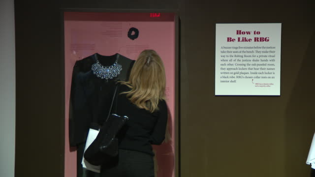 vídeos de stock e filmes b-roll de the life and times of ruth bader ginsburg exhbition at illinois holocaust museum and education center on sunday february 9 2020 - cristaleira