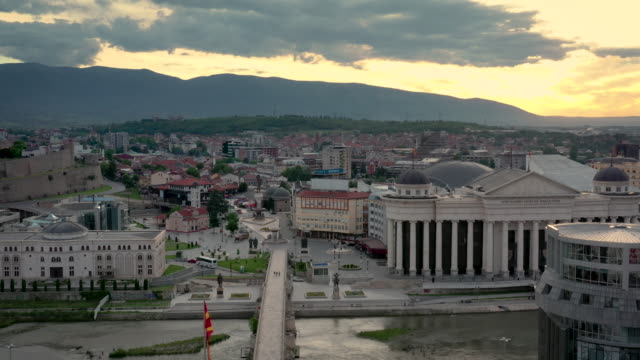 skopje cityscape - north stock videos and b-roll footage