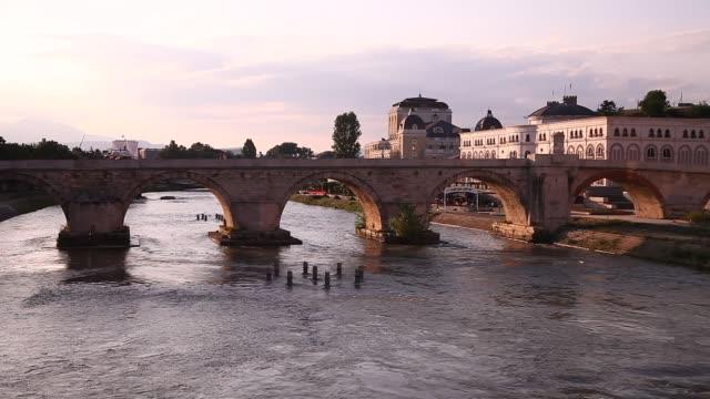 skopje stone bridge - skopje stock videos and b-roll footage