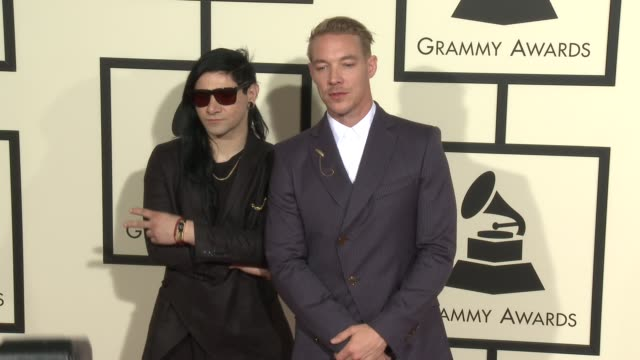 skrillex and diplo at the 58th annual grammy awards® arrivals at staples center on february 15 2016 in los angeles california - grammy awards stock videos and b-roll footage