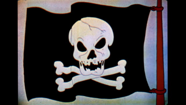 vídeos de stock, filmes e b-roll de skull and cross bones pirate flag - sinal de advertência