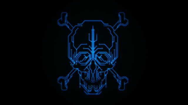 skull and crossbones with circuit board - crime stock videos & royalty-free footage