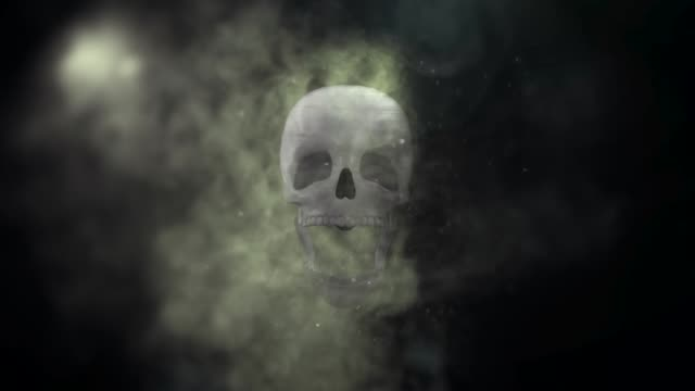 skull appearing from smoke and evaporating into particles - warning sign stock videos & royalty-free footage