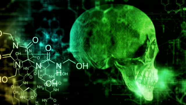 vídeos de stock, filmes e b-roll de crânio de produtos químicos - lóbulo frontal