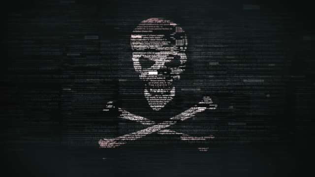 skull & crossbones symbol in glitchy computer screen - computer hacker stock videos & royalty-free footage