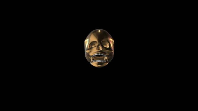 stockvideo's en b-roll-footage met schedel decoratie kunst voor eat gold - hersenhelft
