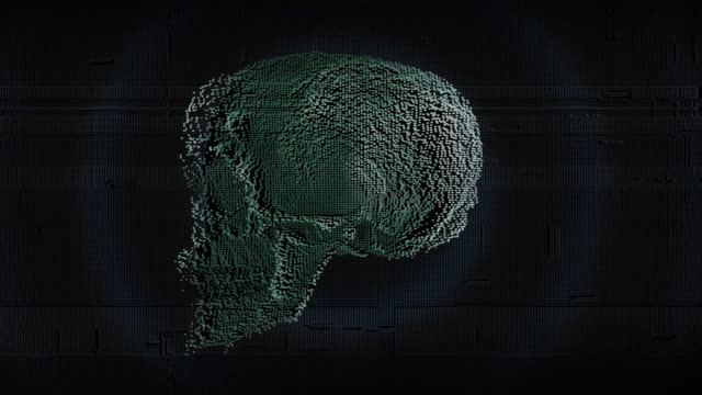 Skull digital rotate dots