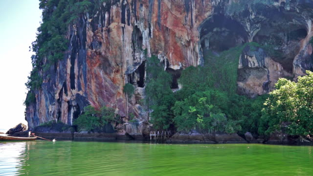 vidéos et rushes de île du crâne, visage dans la roche, ko pee, krabi, thaïlande - rock face