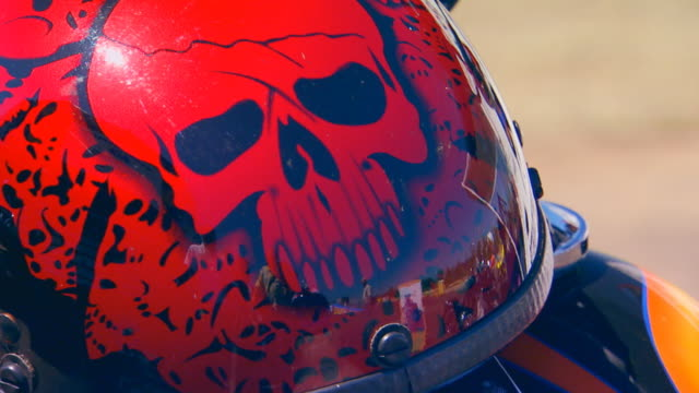 Skull on the back of a motorcycle helmet
