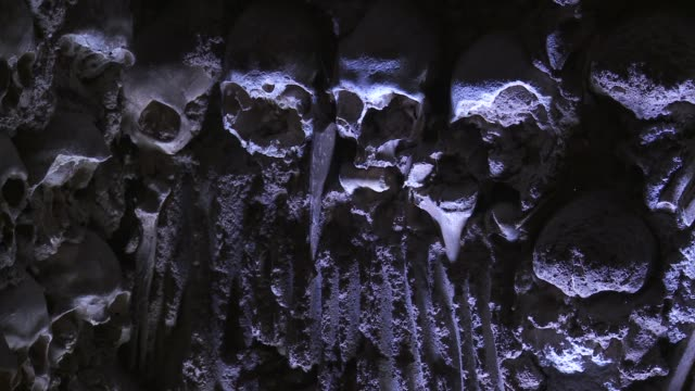 skulls and other human bones line the walls of the chapel of bones in saint francis church. - other stock videos & royalty-free footage
