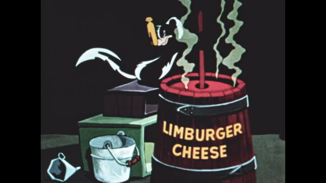 Skunk makes stinky limburger cheese with a clothespin on his nose