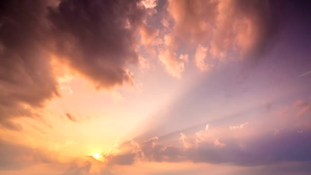 Sky and Moving sunrise clouds Timelapse