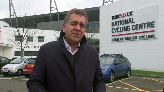 Sky announces end of Team Sky funding ENGLAND Manchester Sportcity National Cycling Centre Reporter to camera
