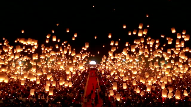 sky lantern in loy krathong festival in thailand (floating lantern) - paper lantern stock videos and b-roll footage