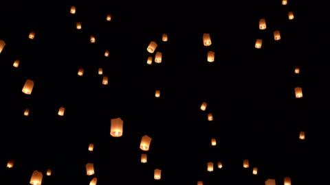 vídeos y material grabado en eventos de stock de slo mo linterna del cielo en el cielo - cultura tailandesa