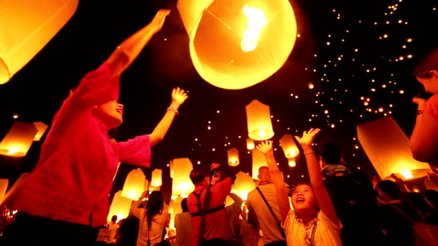 sky lantern loi krathong traditional festival - image stock videos & royalty-free footage