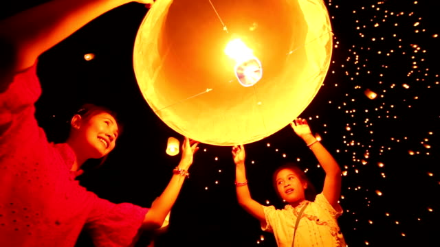 sky lantern loi krathong traditional festival - luck stock videos & royalty-free footage