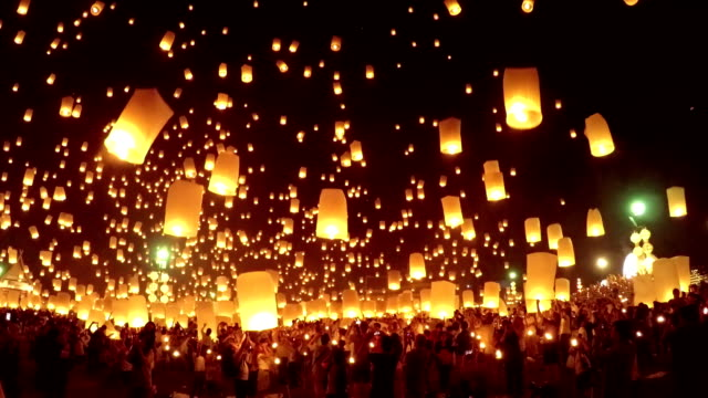 sky lantern loi krathong traditional festival. - lantern stock videos & royalty-free footage