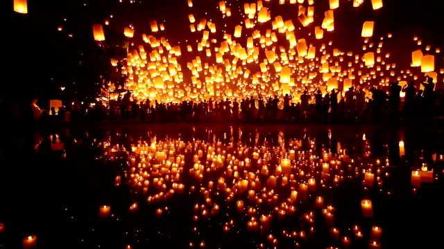 sky lantern loi krathong traditional festival - lantern stock videos & royalty-free footage