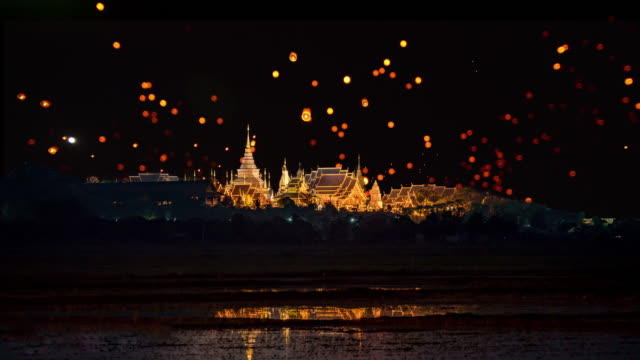 sky lantern loi krathong traditional festival. - cultures stock videos & royalty-free footage