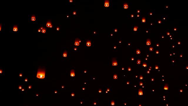 のスカイランタン伝統的な祭。 - 電灯点の映像素材/bロール