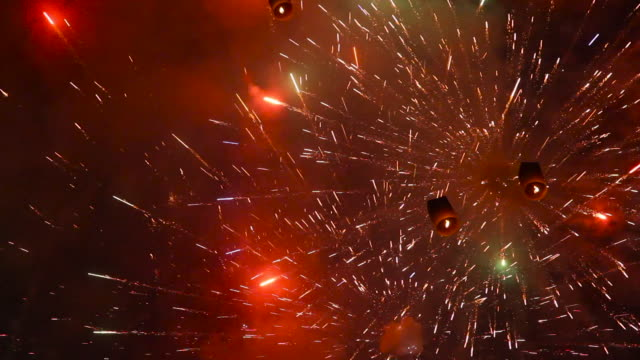 "sky lanterns and fireworks in night sky, thailand. - ""bbc natural history"" video stock e b–roll"