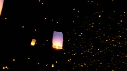 Sky Lanterns Flies Into The Night Sky