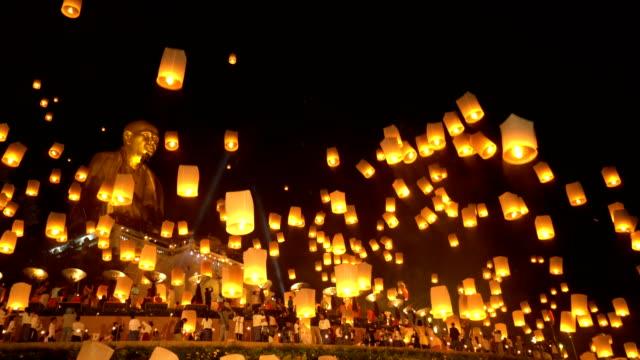 Sky Lanterns with Big Buddha in Loi Krathong Festival