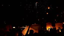 Sky lanterns, Yi Peng Festival. Chiang Mai, Thailand.