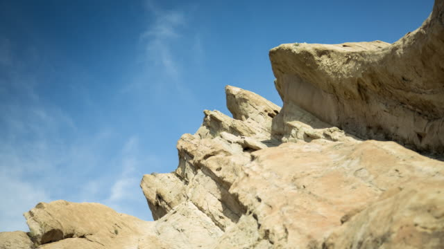 sky over rock formation - time lapse - vasquez rocks stock videos and b-roll footage