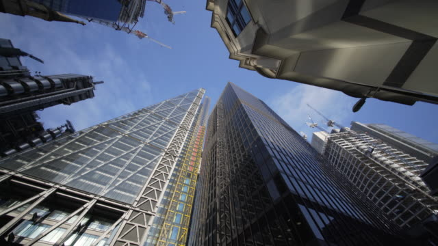 sky scrappers in the city of london - low angle view stock videos & royalty-free footage